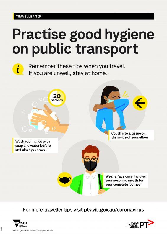 PTVH5196 COVID 19 Travellers Tips Masks Hygiene A1P V5