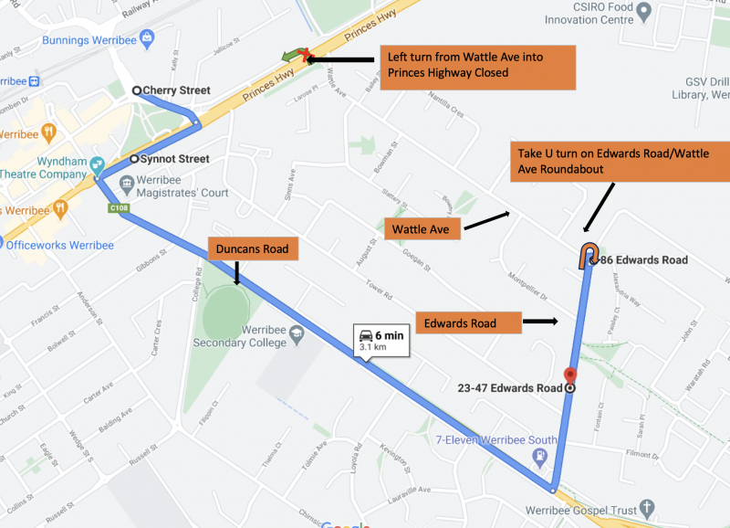 Route 443 Detour Dec 2020